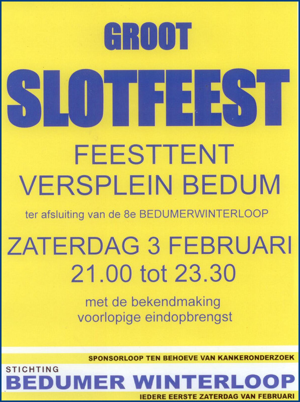 Groot slotfeest Bedumer Winterloop - Feesttent Versplein Bedum